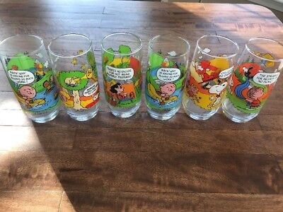 Set 6 Vintage 1968 Camp Snoopy Collection Drinking Glasses Charlie Brown Peanuts