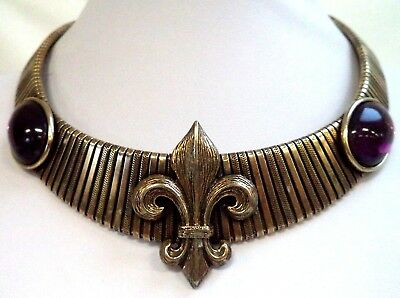 "Vintage Estate High End Fleur De Lis Purple Glass Gold Tone 19"" Necklace! G6698W"