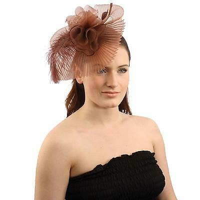 Handmade Floral Beads Feathers Removable Headband Fascinator Cocktail Hat Brown