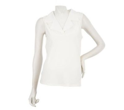 Kathleen Kirkwood Dictrac-Ease Woven Notch Collar Camisole Pearl S NEW A224161