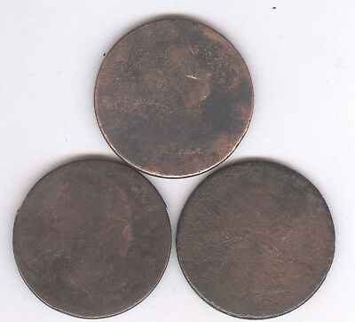Lot of THREE - Draped Bust Large Cents + No Dates + No Reserve!