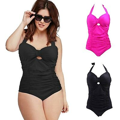 Women's Vintage One Piece Swimsuit Pin Up Halter Monokini Bathing Suit