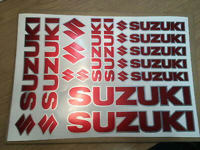 SUZUKI set of Vinyl printed Stickers sheet. Red and Silver Non OEM