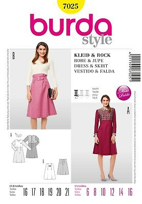 Burda 7025 Sewing Pattern Misses' Petite Business Collared Dress High Skirt 6-16