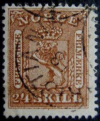 Norway 1863. 24sk Brown used - nice appearance - but creased corner. SG Cat #18.