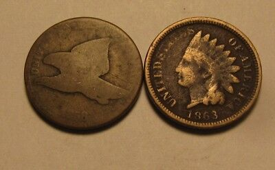 1858 & 1863 Flying Eagle/Indian Head Cent Penny - Mixed Condition - 46FR