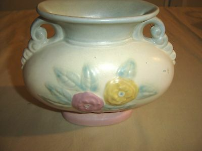 "Vintage Hull Vase Open Rose 123-6 1/2 Blue/Pink 7"" diameter 9392"