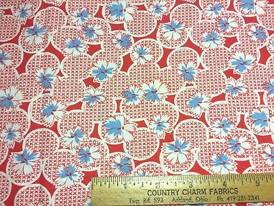 Vintage Cotton Feedsack Fabric 30s40s SWEET Lil Blue & White Flowers EXC