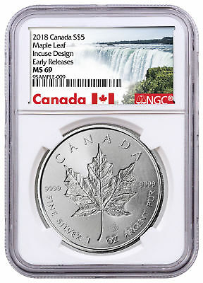 Daily Deal! 2018 Canada 1 oz Silver Maple Leaf -Incuse $5 Coin NGC MS69 ER