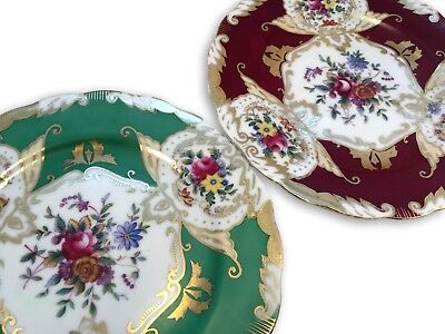 "Set of 2 VINTAGE HAND PAINTED LENWILE CHINA ARDALT 8"" Wall Plates No. 6482 JAPAN"