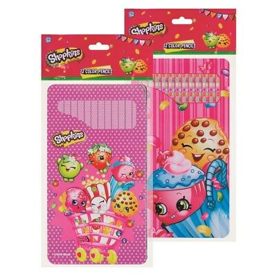 Shopkins 12 Colouring Pencils In Tin Ideal Gift Party Bag School Toys Fun Craft