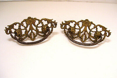 Victorian Cast Brass Drawer Drop Pull Handle 3 Inch Spacing  Antique Hardware