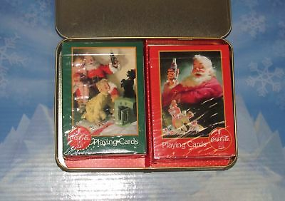 1996 Coca Cola Nostalgia Sealed Playing Cards in Christmas Tin - 2 Decks