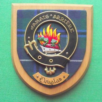 Vintage Scottish Hand Carved Oak Clan DOUGLAS Tartan Plaque Crest Shield B