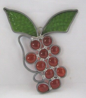 Vintage Stain Glass Sun Catcher Large Orange And Green Leaf Grapes With Hanger