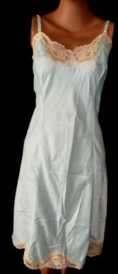 Vintage Aqua Wonder Maid Super Silky Dress Slip Lingerie w Lace - 44 - L/XL/XXL