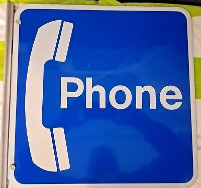 Vintage! Pay Telephone Booth Phone Sign With Original Metal Flanged Brackets