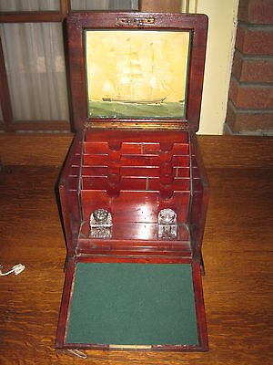 Antique Box Victorian Letter Box Mahogany Inlaid With Brass Handle & Key