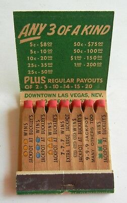 Vtg Full FEATURE MATCHBOOK from BUCKLEY'S Jackpot Club CASINO Las Vegas FREMONT