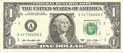 Fancy Serial Number $1 2013 Uncirculated  Quad 6666 Note