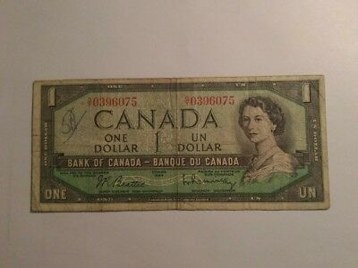 1954 One Canadian Bill 1 Dollar Canada  Circulated Bank Note-(2)