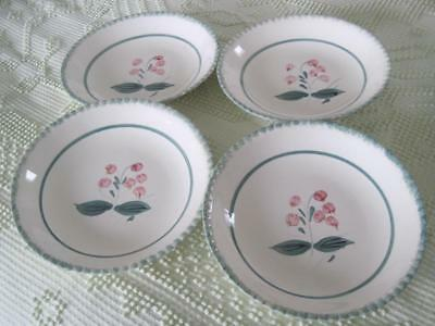 "4 Blue Ridge Southern Potteries Bleeding Heart 7.75"" Coupe Soups on Candlewick"