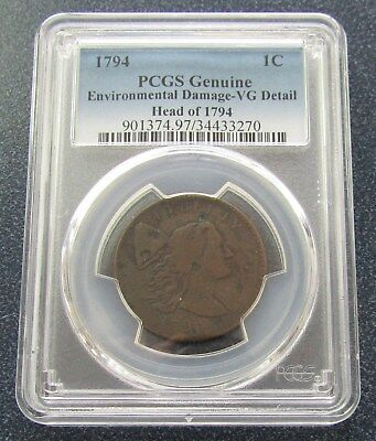 1794 Liberty Large Cent, Head Of 1794 - PCGS Genuine VG Details- Cert# 34433270