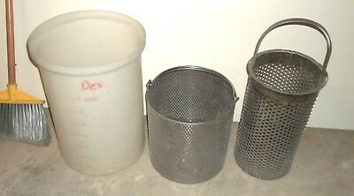 Chemical resistant Nalgene tank with Stainless Steel Screen Buckets -FREE SHIP !