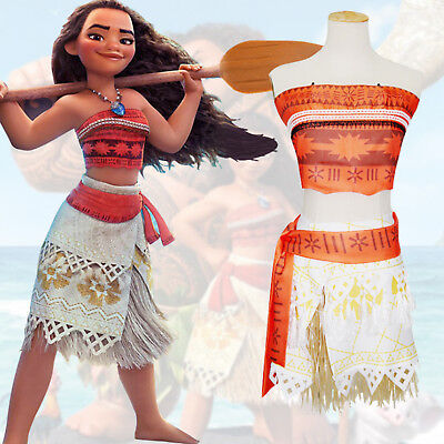 Disney Vaiana Moana Prinzessin Kleid Mädchenkostüm Kinder Hawaiian Cosplay Party
