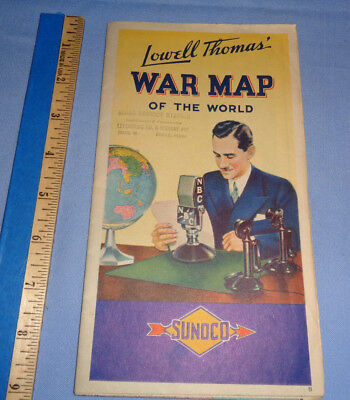 Vintage LOWELL THOMAS WAR MAP of the world SUNOCO