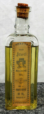 Vtg Bottle JEWEL Machine Oil Sewing Independent Co in Mansfield Ohio OH Triangle