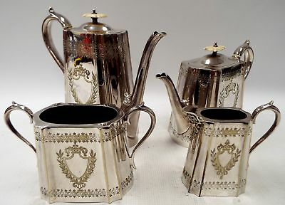 4 X Piece SILVER PLATE TEA / COFFEE SET Philip Ashberry Sheffield - C19