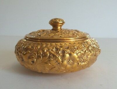 "Sterling Silver Gilt Repousse 4.5"" Lidded Box"