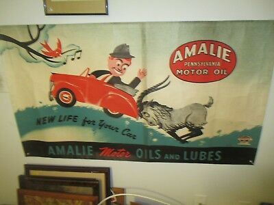 "Very Rare 1932 30"" X 50"" ""amalie Pennsylvania Motor Oil"" Advertising Sign"