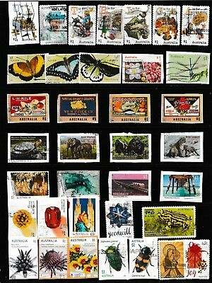 2016-2017 Page Of Australian Stamps On/off Paper  All Different  Used