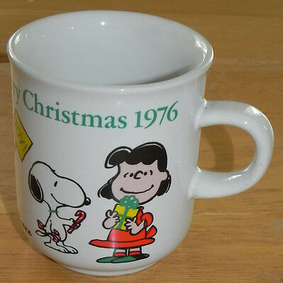 Vintage Snoopy/Peanuts Mug Christmas 1976 Charlie Brown Lucy Peppermint Patty