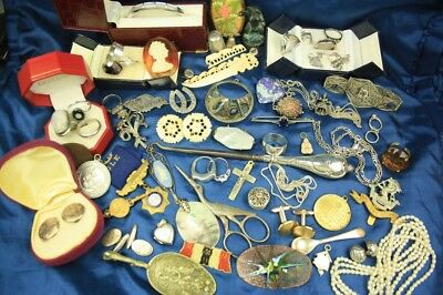 Job Lot Antique Vintage Jewellery Silver Curios Cufflinks Brooches Charm & Rings