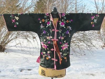 Fab Chinese Embroidered Antique Black and Pink Flowers Robe Jacket Orchids