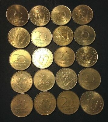 Old Hungary Coin Lot - 20 Forint - 20 Excellent Coins - Lot #J17