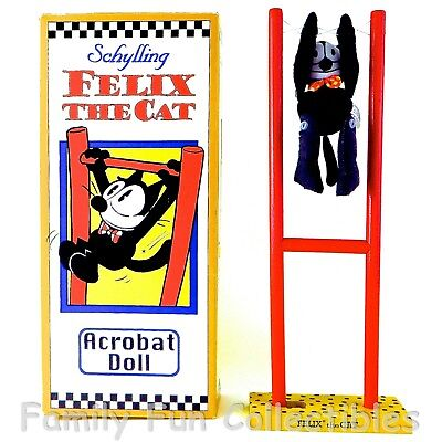 FELIX THE CAT~1990s Schylling~Acrobat Doll~Squeeze Pole Action Toy Figure~NOS