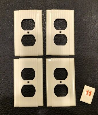 4 Ivory Vtg Bakelite Ribbed Deco Single Gang Uniline Outlet Plate Covers - O11