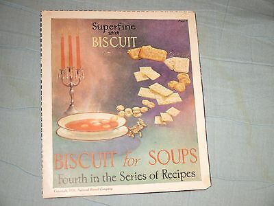RECIPES Vintage Collectible National Biscuit Co, Biscuit for Soups, 1926