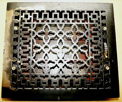 Cast Iron 14 x 12 Square Deco Design Floor Grate Heat Register 10 x 12 Inside