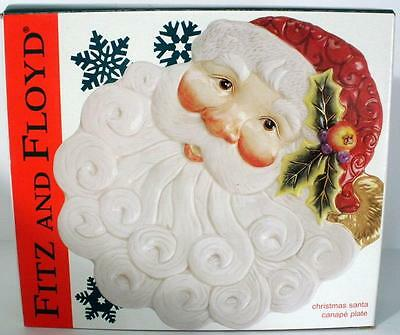 2002 Fitz And Floyd Christmas Santa Canape Plate - New In Box