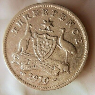 1910 AUSTRALIA 3 PENCE - FIRST YEAR COIN Excellent Vintage Silver Coin -Lot #J17