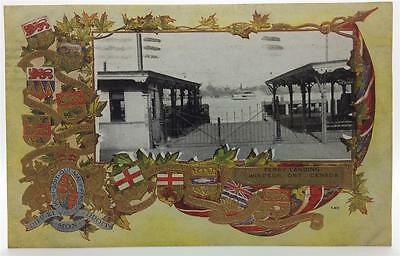 Ferry Landing Windsor Ont Canada Vtg Pc Used Circa 1910~Embossed Flags Provinces