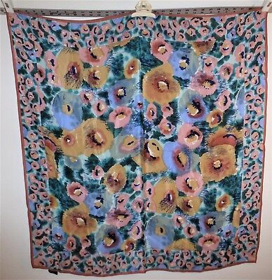 "Beautiful Art of the Scarf 100% Silk, Japan, 35"" Square, Abstract Floral Design"