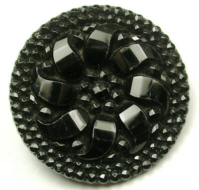 Lg Sz Antique Black Glass Button Fancy Flower Design - 1 & 1/4""