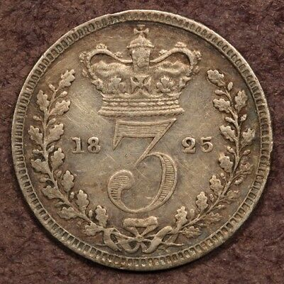 Great Britain Maundy 3 Pence 1825 Silver ChVF