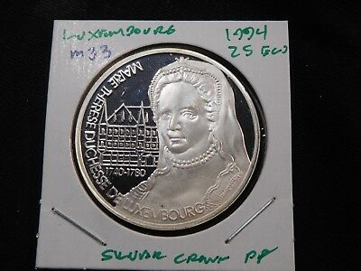 M33 Luxembourg 1994 Silver 25 Ecu Crown Proof